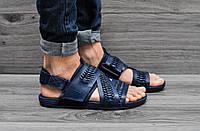 Кожаные мужские босоножки Nike синие
