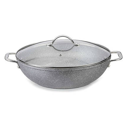 Сковорода вок с крышкой Fissman MOON STONE 28 см AL-4411.28, фото 2