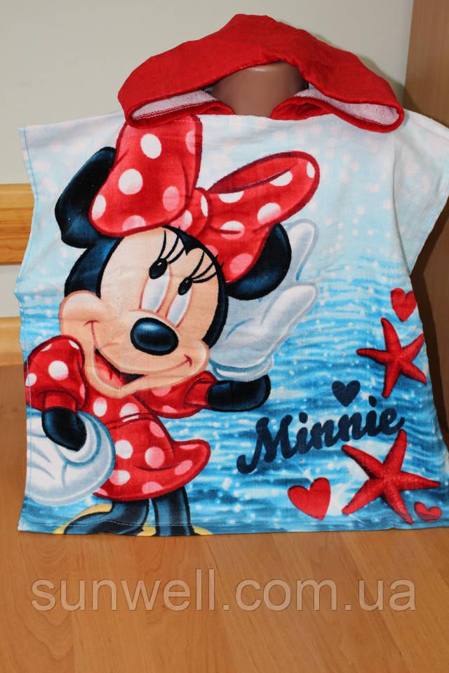 детское пляжное полотенце пончо оптом, Минни
