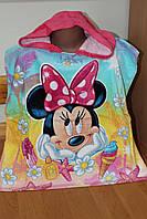 Детские махровые пончо с капюшоном Минни маус