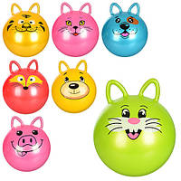 Мяч для фитнеса MS 0937 с ушками, 50см, 400г, 7 видов(животные), в кульке, 19-15-4см