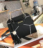 Каркасная сумка с ручками в форме котика и мозаикой
