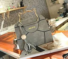 Каркасна сумка з ручками у формі котика і мозаїкою, фото 2