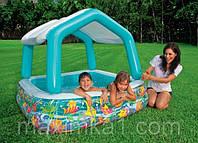 Детский надувной бассейн INTEX 57470 квадратный, со съёмной крышей, 157-122см
