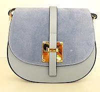 Жіноча маленька сумочка  . Італія 100% натуральна шкіра . Голуба, фото 1