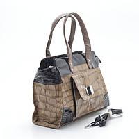 Стильная женская лаковая сумка черная с хаки