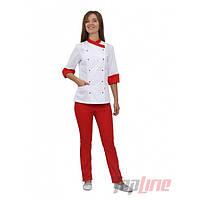 Кухарський костюм жіночий Бордо 2 білий/червоний, фото 1