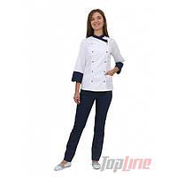 Поварской костюм женский Бордо 2 белый/синий , фото 1