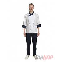 Поварской костюм мужской Брюссель белый/синий №8