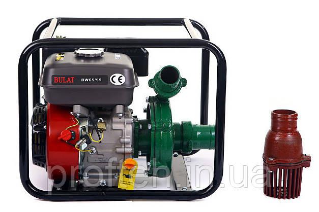 Мотопомпа бензиновая BULAT BW65/55 (36 м.куб/час, высоконапорная - 60 м) + доставка