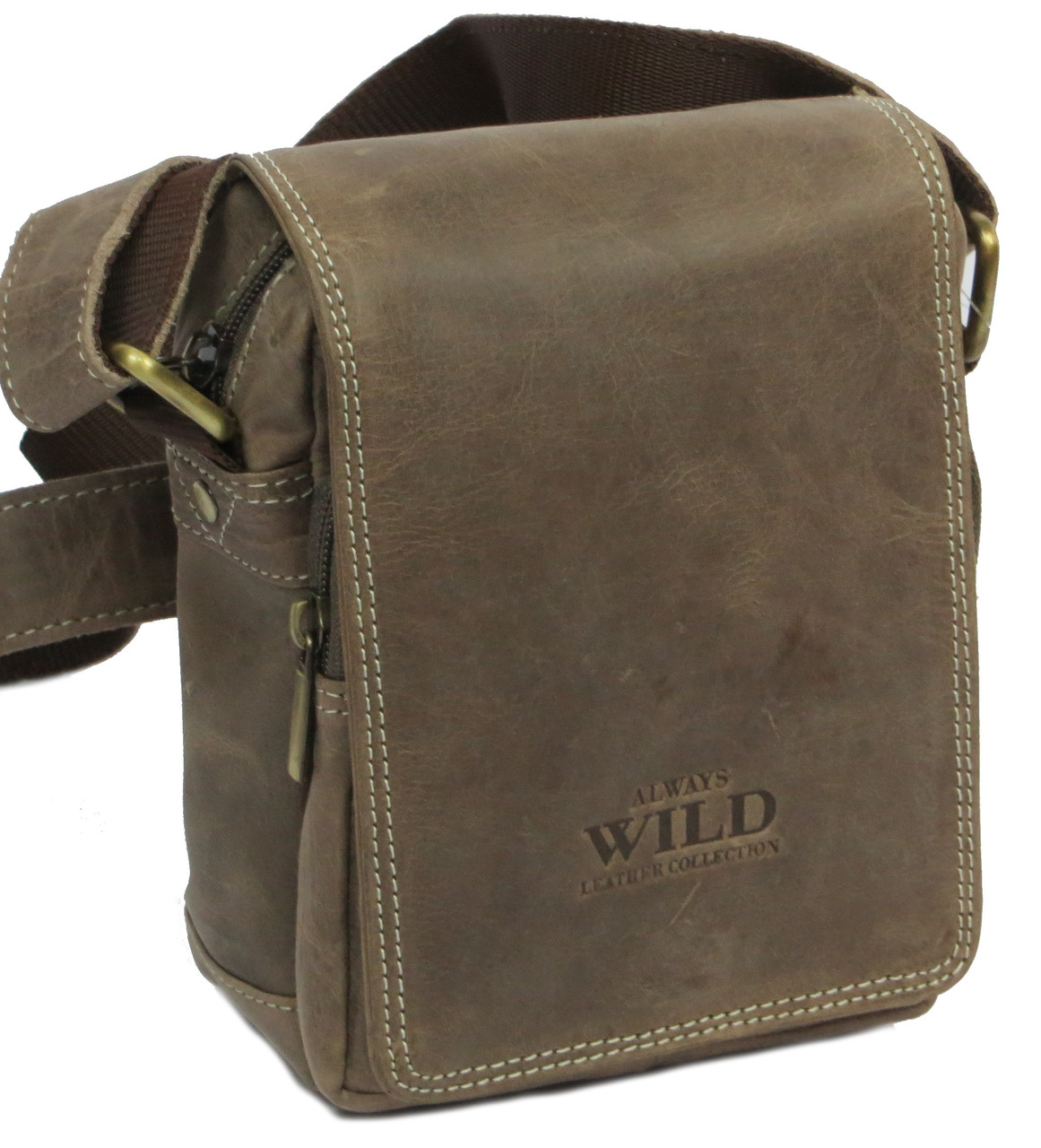 Кожаная сумка Always Wild 250591 серый