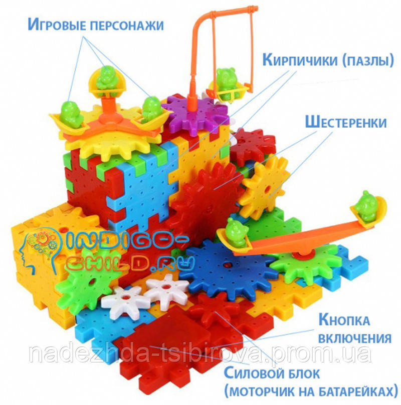 """Развивающая игрушка - динамический конструктор из вращающихся шестеренок """"Funny Blocks"""" - 81 деталь."""