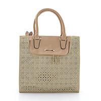 Классическая женская сумка с перфорацией темно бежевая