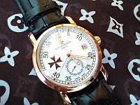 Часы Vacheron Constantin белые на черном ремешке  (копия)