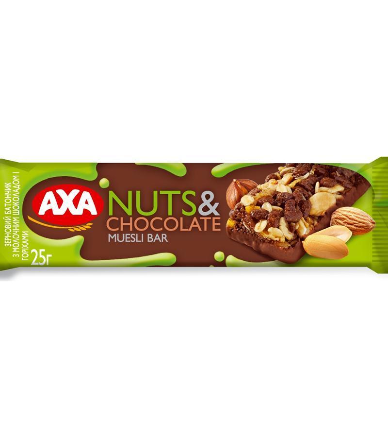 Зерновой батончик АХА с молочным шоколадом и орехами 25г