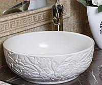 Чаша керамическая накладная - Белая 3D 108