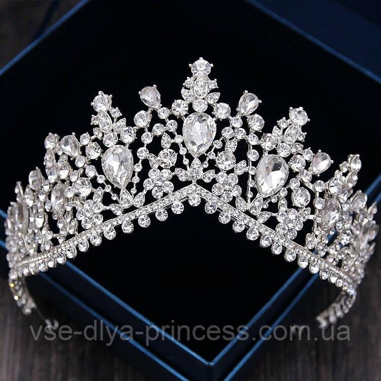 Высокая корона, диадема, тиара в серебре для девочки,  высота 8 см.