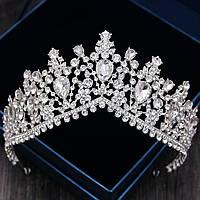 Высокая корона, диадема, тиара под серебро,  высота 8 см., фото 1