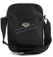 Качественная прочная мужская сумка почтальонка с искусственной кожи WALLABY art. 222158 черный