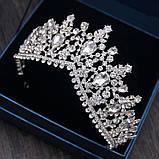 Высокая корона, диадема, тиара в серебре для девочки,  высота 8 см., фото 3