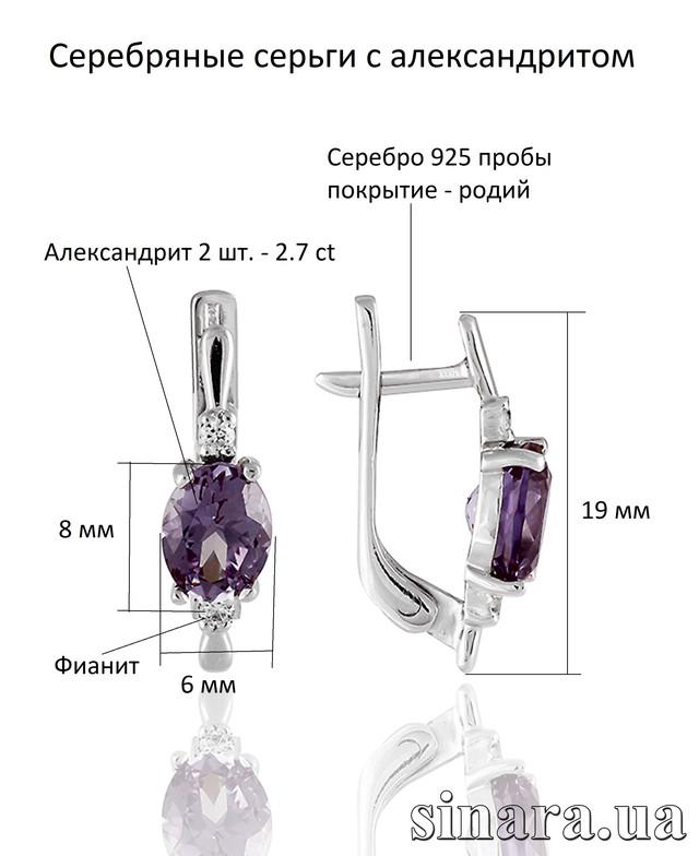 Серебряные серьги с александритом картинка