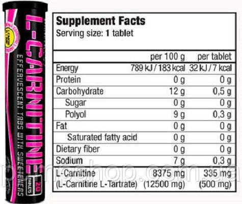 Л-карнитин BioTech USA Effervescent L-Carnitine 500 mg 20 таб., фото 2