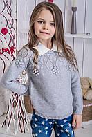 Детский свитер для девочки с белым воротником