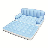 Надувной диван 5 в 1 c электронасосом , Голубой, 188-152-64см (75038)