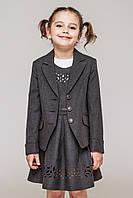 Школьный костюм 2-ка для девочки.Пиджак сарафан (т.серый).