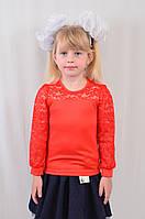 Детская школьная гипюровая кофточка с длинным рукавом р. 104-122.