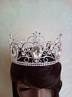 Универсальная мужская круглая корона под серебро с большими камнями, диадема, тиара, высота 8,5 см.