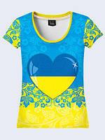 Футболка женская 3D Сердце Украины