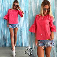 Блуза с рукавом 3/4 украшенная бусинками l-t271414
