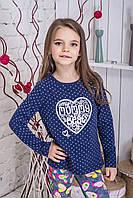 Кофта дитяча трикотажна Серце синя, фото 1
