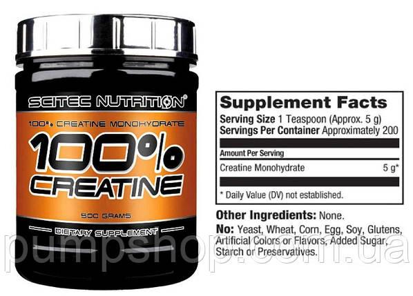 Креатин Scitec Nutrition 100% Creatine Monohydrate 500 г, фото 2
