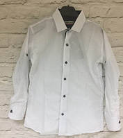 Белая рубашка на кнопках для мальчика (р.7,9,10,11,12 лет)