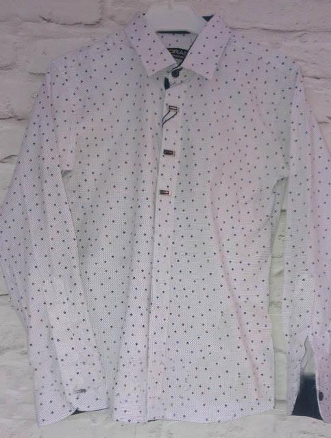 Стильная рубашка в рисунок для мальчика (р.10,12 лет)