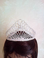 Высокая корона, диадема, тиара в серебре для девочки,  высота 8,5 см.