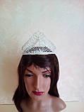 Высокая корона, диадема, тиара в серебре для конкурса, высота 8,5 см., фото 3