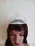Высокая корона, диадема, тиара в серебре для конкурса, высота 8,5 см., фото 4