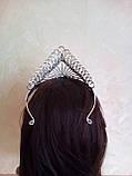 Высокая корона, диадема, тиара в серебре для конкурса, высота 8,5 см., фото 6