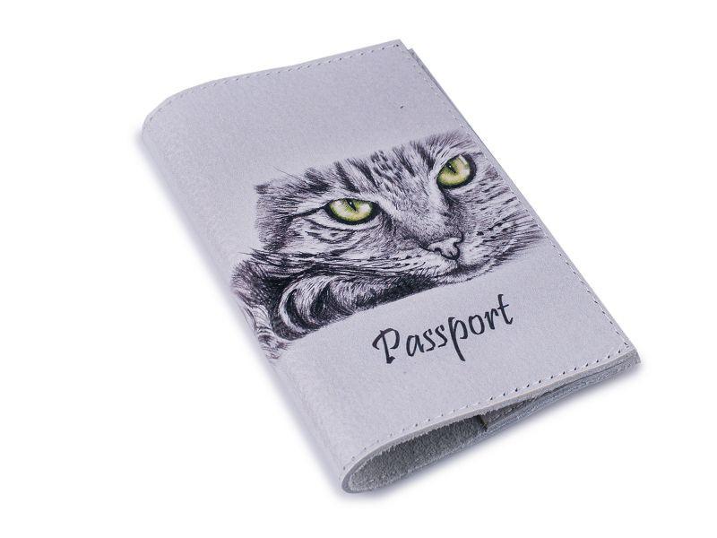 Кожаная обложка для паспорта -Кошечка-