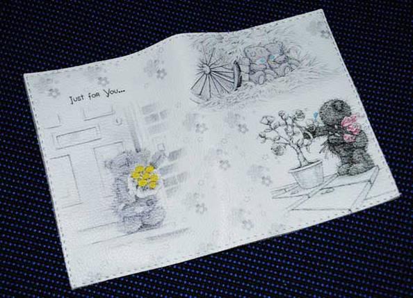 Женская обложка для паспорта -Мишка тедди коллаж-, фото 2