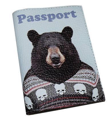 Кожаная обложка для паспорта -Медведь в свиторе-, фото 2