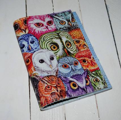 Кожаная женская обложка для паспорта -Цветные совы-, фото 2