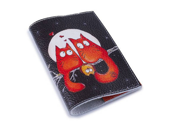 Кожаная женская обложка для паспорта -Семья рыжих-, фото 2