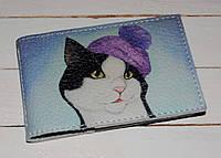 Кожаная визитница -Кот в шапке-