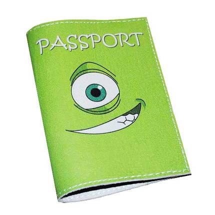 Кожаная обложка для паспорта -Монстрик-, фото 2