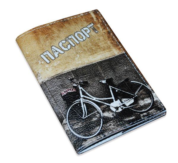Кожаная обложка для паспорта -Велосипед графити-