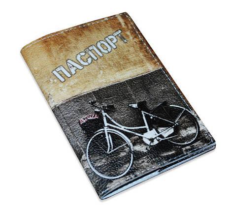 Кожаная обложка для паспорта -Велосипед графити-, фото 2